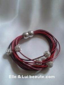 bracelet aimenté cuire rouge noir strass