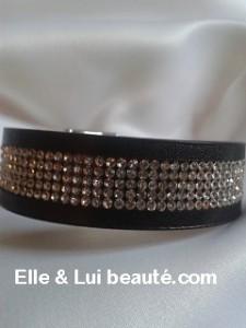 Bracelet strass cristal manchette aimenté noir