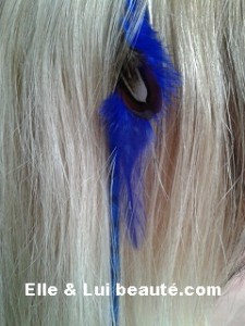 clips Extention Plume et meche synthétique bleu C